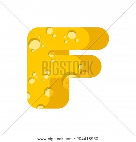 Letter F Cheese Font. Symbol Of Cheesy Alphabet. Dairy Food Type Sign. Vector Illustration
