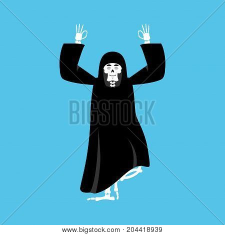 Grim Reaper Yoga. Death Yogi. Skeleton In Black Cloak Relaxation And Cognition. Vector Illustration