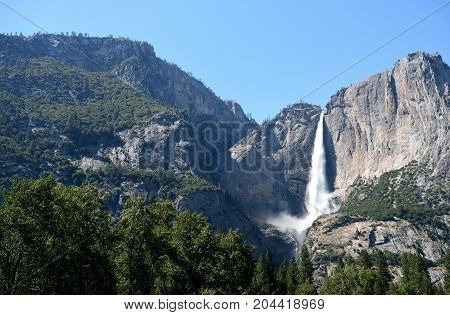 Landscape With Waterfall In Yosemite National Park, California, Usa