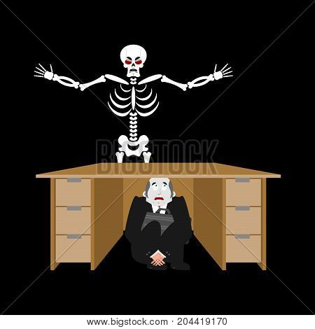 Businessman Scared Under Table Of Skeleton. Frightened Business Man Under Work Board. Does Not Want