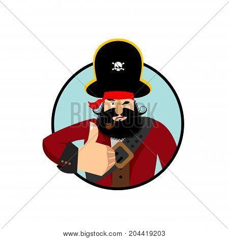 Pirate Thumbs Up. Filibuster Winks Emoji. Buccaneer Cheerful. Vector Illustration
