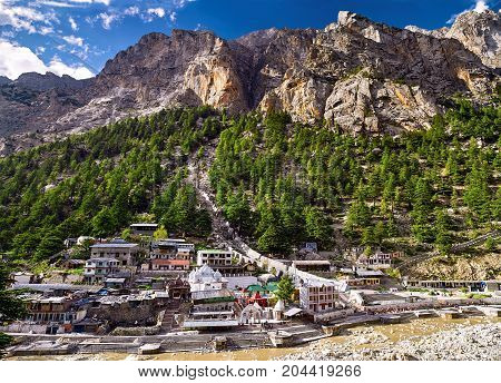 Aerial view of Gangotri town. Panoramic view of mountains and rivers. Uttarakhand Nord India.