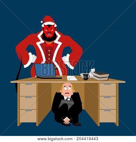 Businessman Scared Under Table Of Krampus. Frightened Business Man Under Work Board. Bad Behavior. B