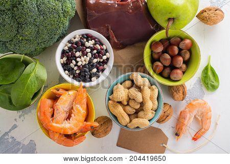 Healthy food, sources of folic acid vitamin B9