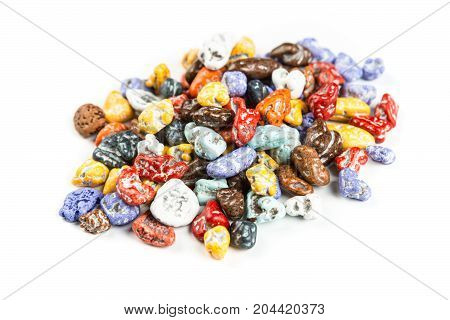 Pile Of Chocolate Rock Candy Isolated On A White Background