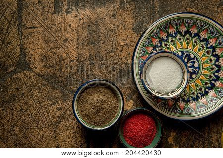 Oriental Spices On An Old Paving Stone