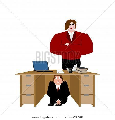 Businessman Scared Under Table Of Wife. Frightened Business Man Under Work Board. Vector Illustratio