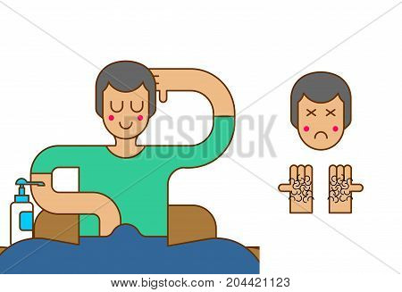 Blind And Hairy Palms From Onanism. Guy Masturbates And Has Blind Face. Vector Illustration