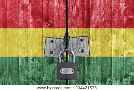 Ghana flag on door with padlock close