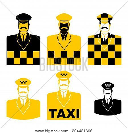 Taxi Driver Icon Set. Cabbie Sign. Cabdriver Symbol. Vector Illustration