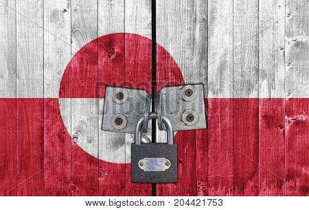 Greenland flag on door with padlock close