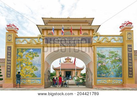Nakhon Phanom, Thailand - May 2017: Tourists Visiting The President Ho Chi Minh Memorial Complex In