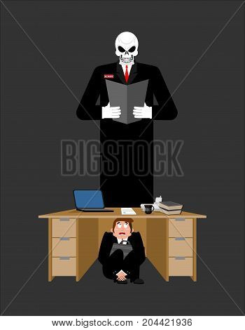 Businessman Scared Under Table Of Creditor. Frightened Business Man Under Work Board. Boss Fear Offi
