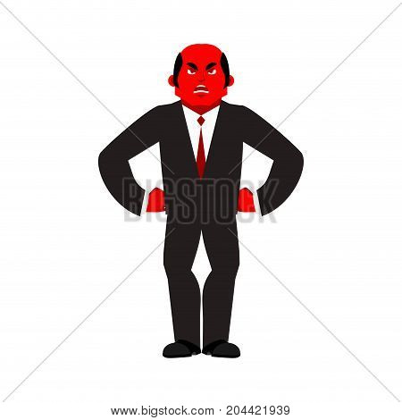 Boss Angry Red. Businessman Evil. Business Men Aggressive. Vector Illustration