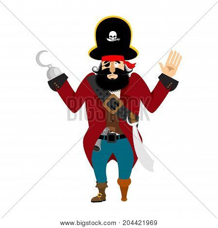 Pirate Surrenders. Filibuster Apologize. Buccaneer Guilty. Vector Illustration