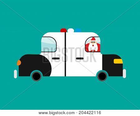 Arrested Santa Claus In Police Car. Festive Arrest. Disturbance Of Calm. Vector Illustration