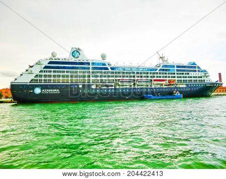 Venice, Italy - May 04, 2017: Cruise liner Azamara docked at the port Venice, Italy on May 04, 2017