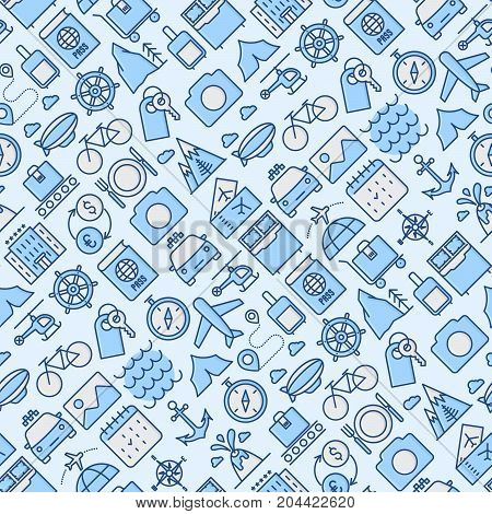 Travel and vacation seamless pattern with thin line icons: plane, tickets, hotel, sights. Vector illustration for banner, web page, print media.
