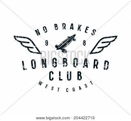 Typographic Emblem Of Longboard Club