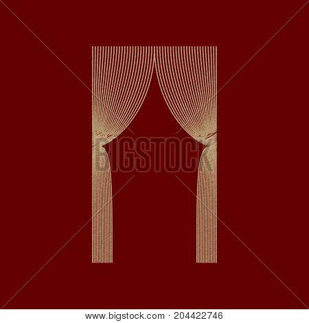 flat shading style icon Curtains interior textile