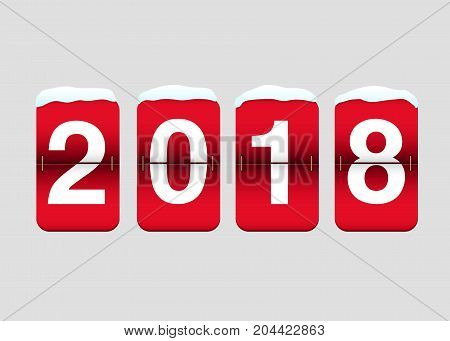 Flip calendar showing year two thousand eighteen. New Year Day design element for greeting cards, posters, leaflets and brochures.