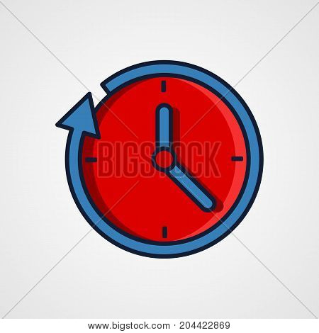 Round the clock flat style icon. Vector illustration