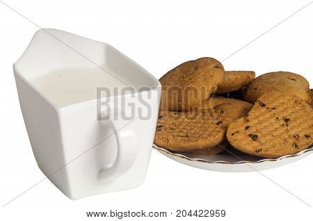 Milk And Biscuits With Chocolate Drops