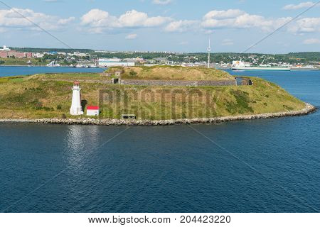 Lighthouse and fortification Georges Island Halifax Nova Scotia Canada