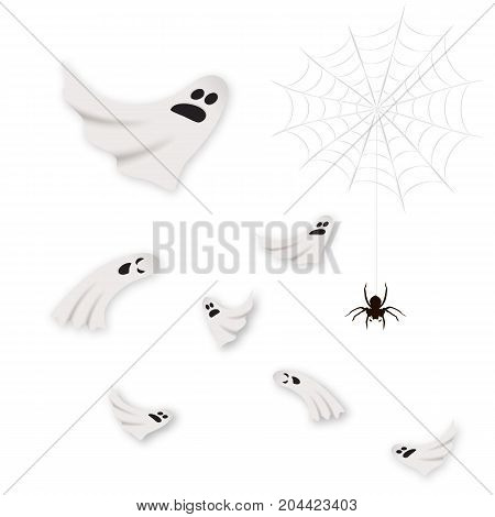 Halloween cute, scary ghosts set isolated on white, vector illustration. Realistic spider, web, graphic elements. Ghost, spider set. Halloween ghosts background, white.