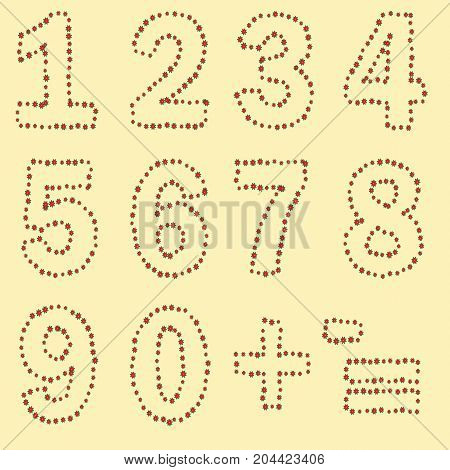 A Set Of Digits From Zero To Nine, Plus And Minus Signs, Equally Executed By A Contour Of Red Flower