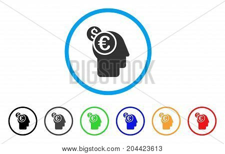 Banker icon. Vector illustration style is a flat iconic banker gray rounded symbol inside light blue circle with black, gray, green, blue, red, orange color versions.