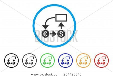Cashflow icon. Vector illustration style is a flat iconic cashflow gray rounded symbol inside light blue circle with black, gray, green, blue, red, orange color variants.