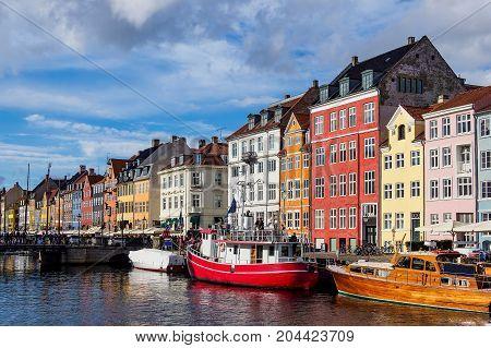 The port Nyhavn in the city Copenhagen Denmark.