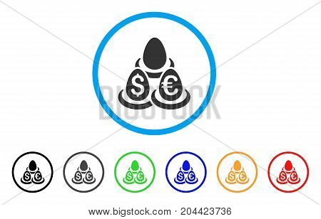 Currency Deposits icon. Vector illustration style is a flat iconic currency deposits grey rounded symbol inside light blue circle with black, gray, green, blue, red, orange color variants.
