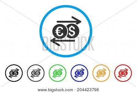 Currency Exchange icon. Vector illustration style is a flat iconic currency exchange gray rounded symbol inside light blue circle with black, gray, green, blue, red, orange color versions.