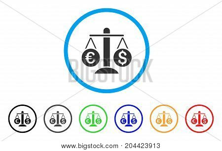 Currency Scales icon. Vector illustration style is a flat iconic currency scales gray rounded symbol inside light blue circle with black, gray, green, blue, red, orange color variants.