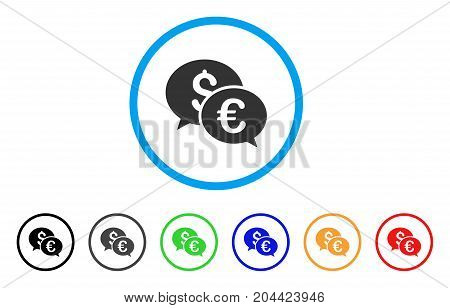 Currency Transactions icon. Vector illustration style is a flat iconic currency transactions grey rounded symbol inside light blue circle with black, gray, green, blue, red,
