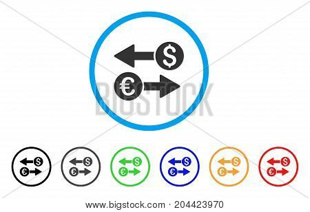 Currency Transfers icon. Vector illustration style is a flat iconic currency transfers grey rounded symbol inside light blue circle with black, gray, green, blue, red, orange color versions.