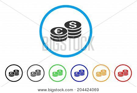Dollar And Euro Coin Stacks icon. Vector illustration style is a flat iconic dollar and euro coin stacks grey rounded symbol inside light blue circle with black, gray, green, blue, red,