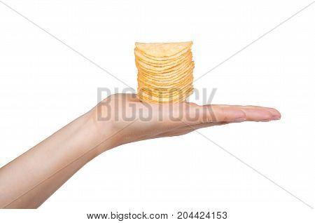 Potato Chips In Hand Isolated On White Background