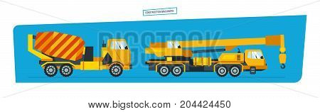 Construction machinery concept. onstruction machines, car with a crane, vehicles for transportation, concrete mixer. Vector illustration isolated on white background.