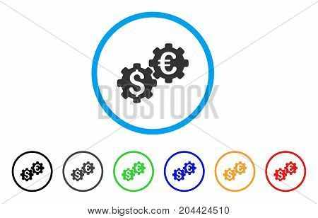 Financial Mechanics icon. Vector illustration style is a flat iconic financial mechanics gray rounded symbol inside light blue circle with black, gray, green, blue, red, orange color variants.