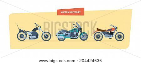 Modern motorbike concept. Ground vehicles. Different types of modern motorcycles: sports, biker motorcycle, classic. Vector illustration isolated on white background.