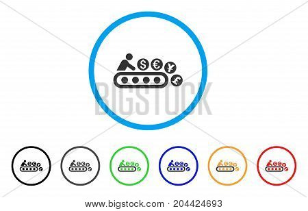 Money Factory icon. Vector illustration style is a flat iconic money factory gray rounded symbol inside light blue circle with black, gray, green, blue, red, orange color versions.