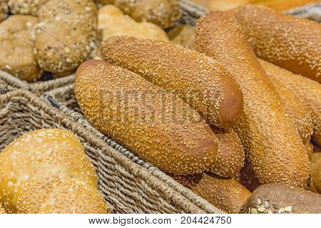 bread assortment background bread bun with sesame seeds