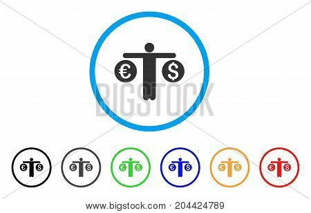 Person Compares Currency icon. Vector illustration style is a flat iconic person compares currency gray rounded symbol inside light blue circle with black, gray, green, blue, red,