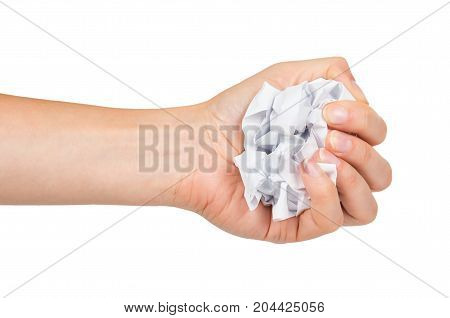 Crumpled Paper Ball In Hand Isolated On White Background