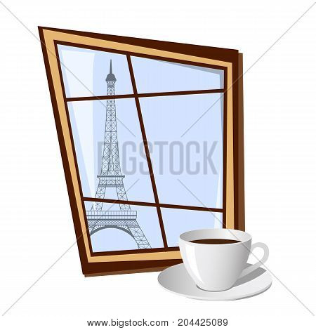 Window with view on Eiffel tower outside isolated on white background. Vector illustration