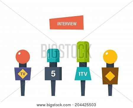 Hands hold different microphones, reporters interview for publishers, press, television. oncept of journalism, interviews. Press conference and collection of materials. Vector illustration isolated.
