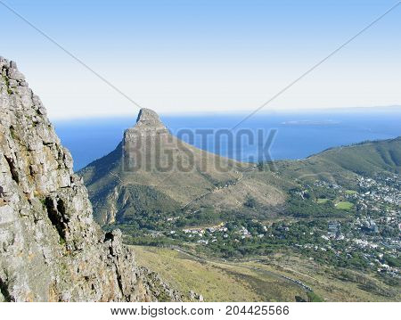 FROM CAPE TOWN, SOUTH AFRICA, VIEW OF LIONS HEAD , FROM THE SUMMIT OF TABLE MOUNTAIN